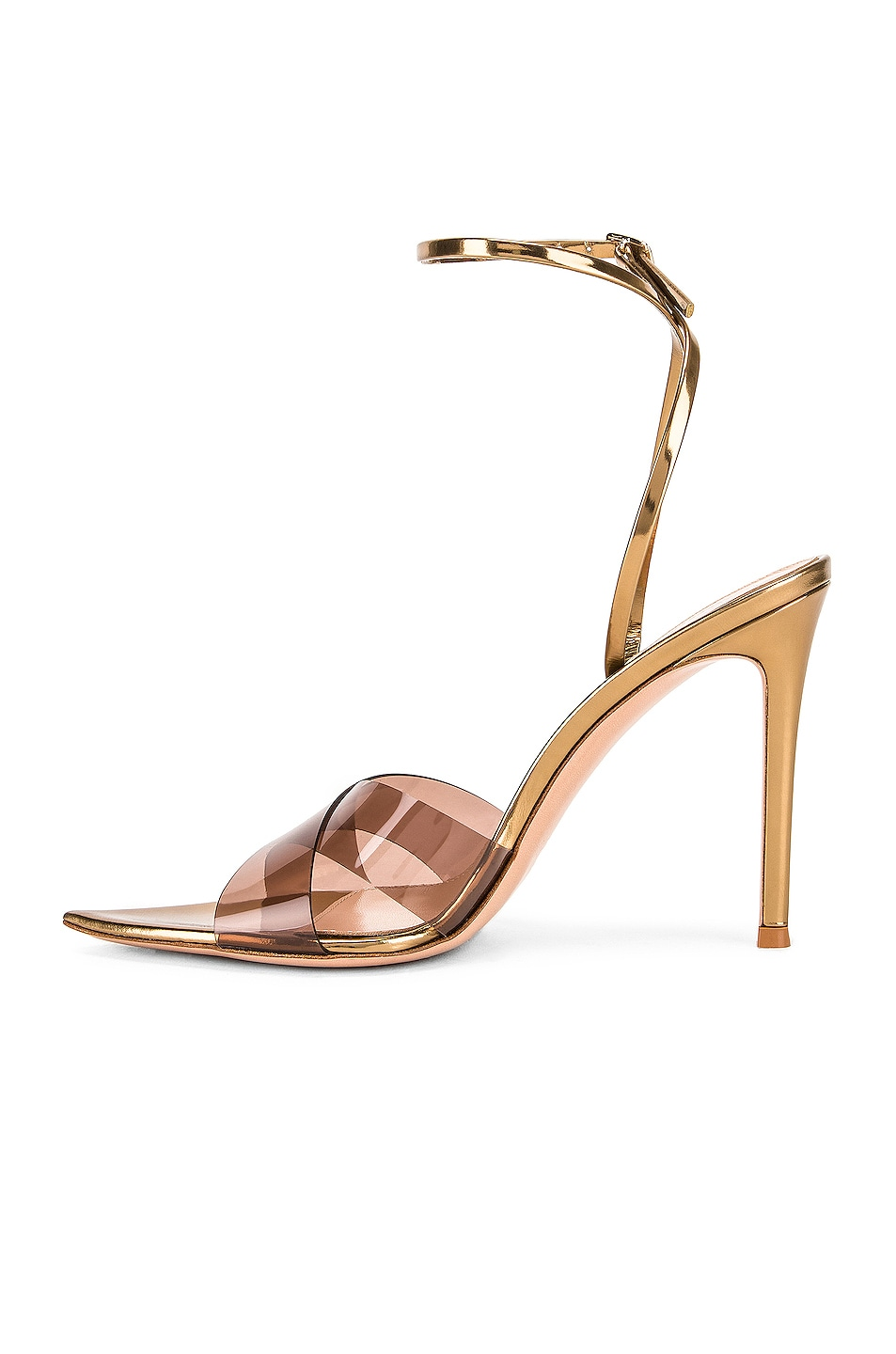 Image 5 of Gianvito Rossi Stark Plexi Ankle Strap Heels in Blush & Gold
