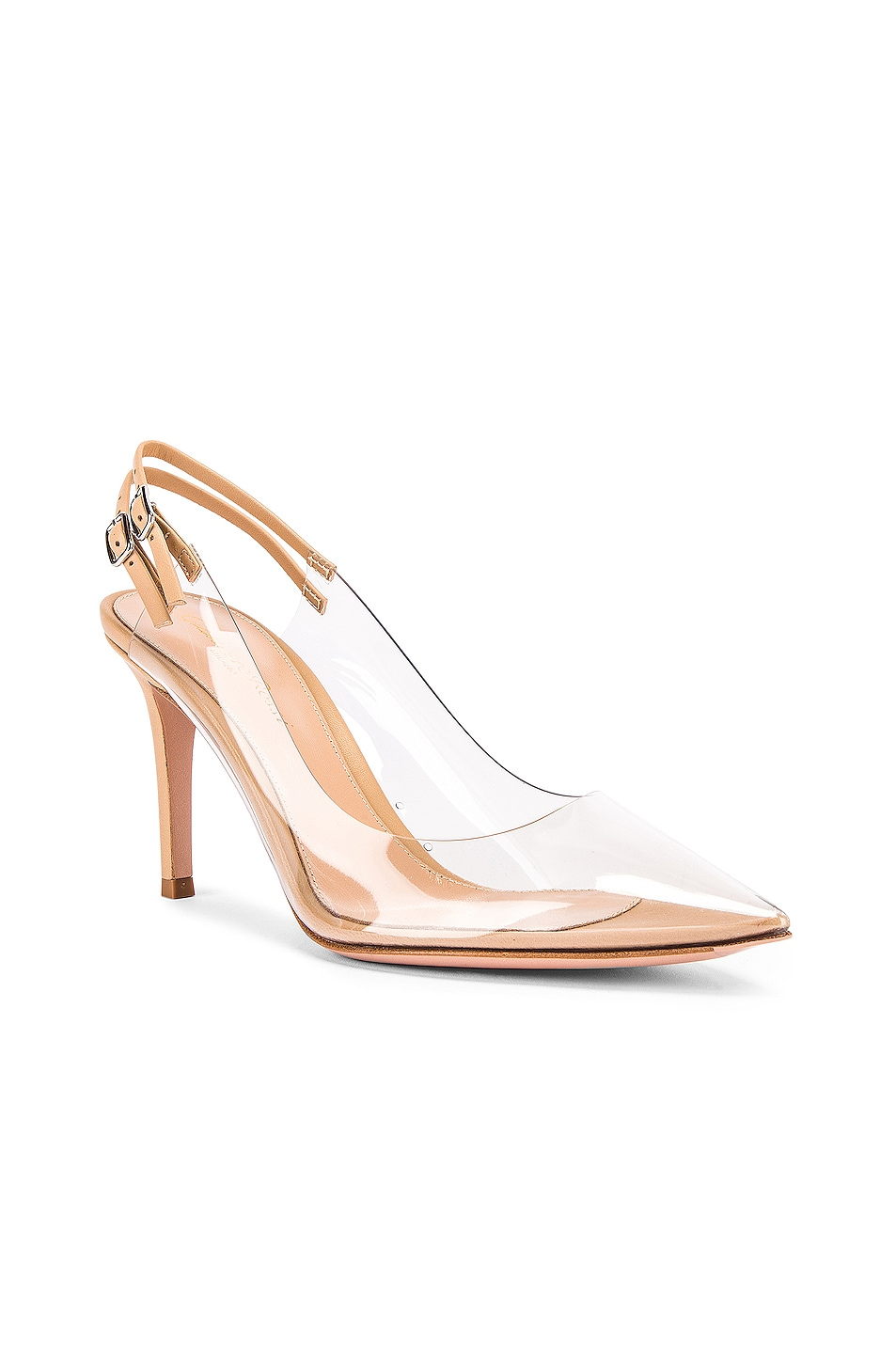 hot sale 2019 Gianvito Rossi Plexi Double Strap Heels Transparent & Nude