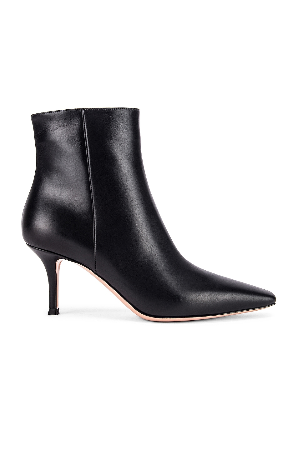 Image 1 of Gianvito Rossi Vitello Kitten Heel Booties in Black