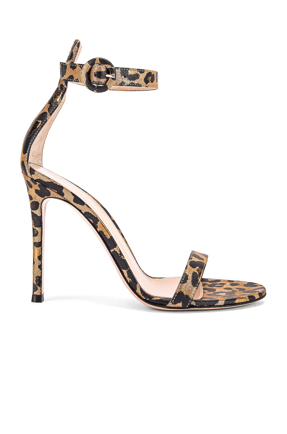Image 1 of Gianvito Rossi Leopard Ankle Strap Heels in Gold Leopard