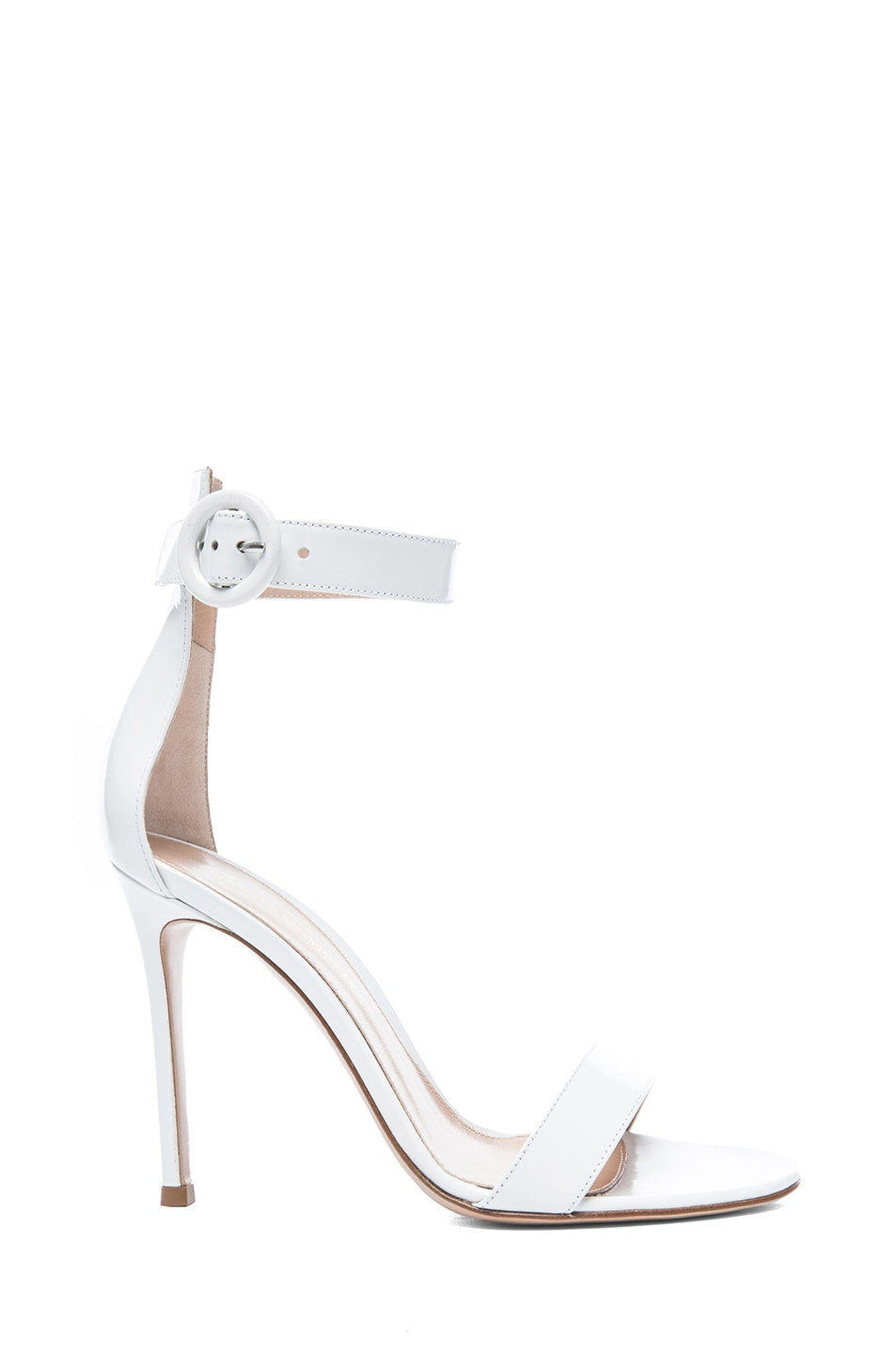 255f8ecf44b Gianvito Rossi Patent Leather Ankle Strap Sandals in White | FWRD