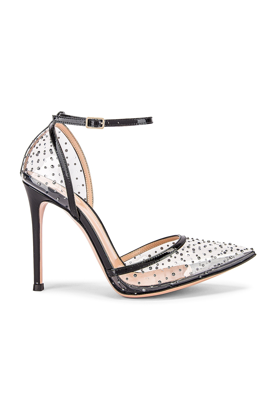 Image 1 of Gianvito Rossi Polka Dots Ankle Strap Heels in Black & Transparent