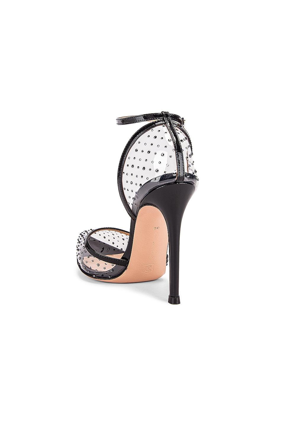 Image 3 of Gianvito Rossi Polka Dots Ankle Strap Heels in Black & Transparent