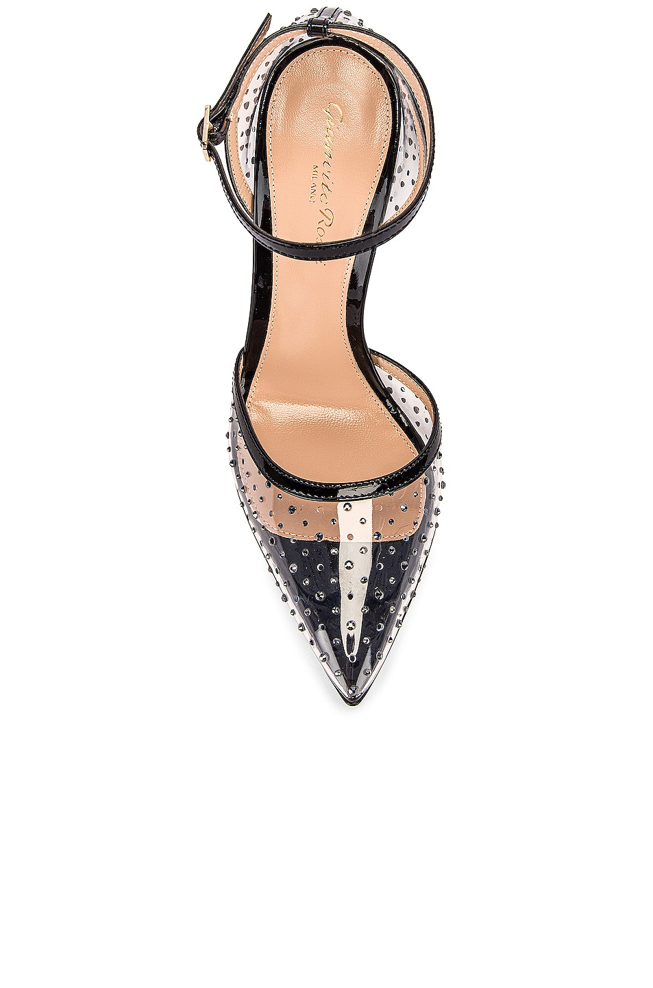 Image 4 of Gianvito Rossi Polka Dots Ankle Strap Heels in Black & Transparent