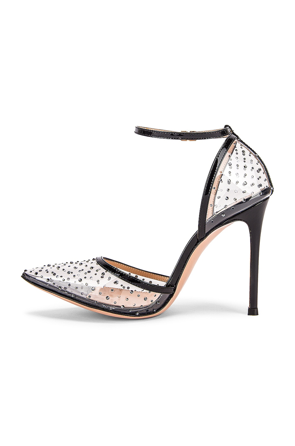 Image 5 of Gianvito Rossi Polka Dots Ankle Strap Heels in Black & Transparent