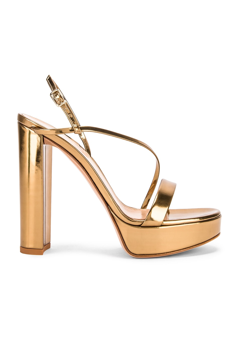 Image 1 of Gianvito Rossi Kimberly Strappy Sandal Heels in Gold