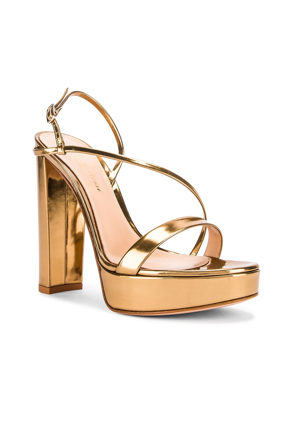 Image 2 of Gianvito Rossi Kimberly Strappy Sandal Heels in Gold