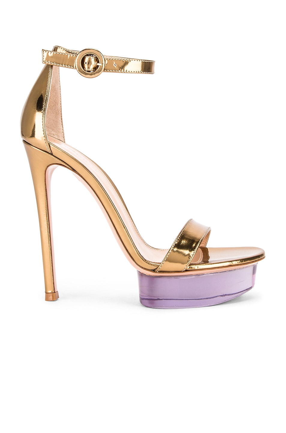 Image 1 of Gianvito Rossi Ankle Strap Platform Heels in Gold