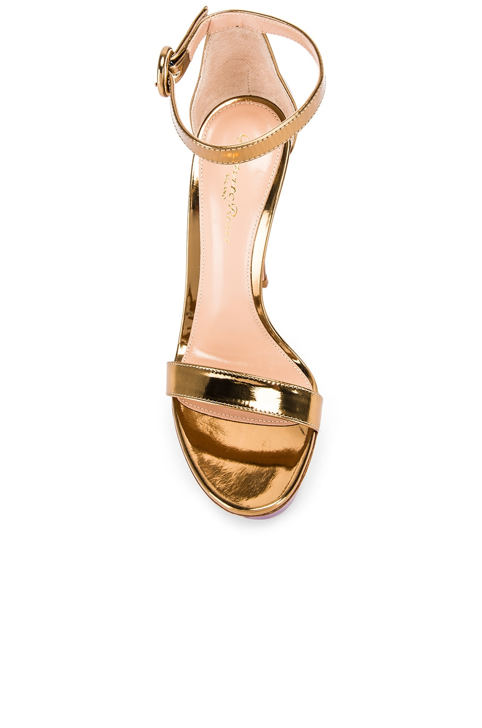 Image 4 of Gianvito Rossi Ankle Strap Platform Heels in Gold