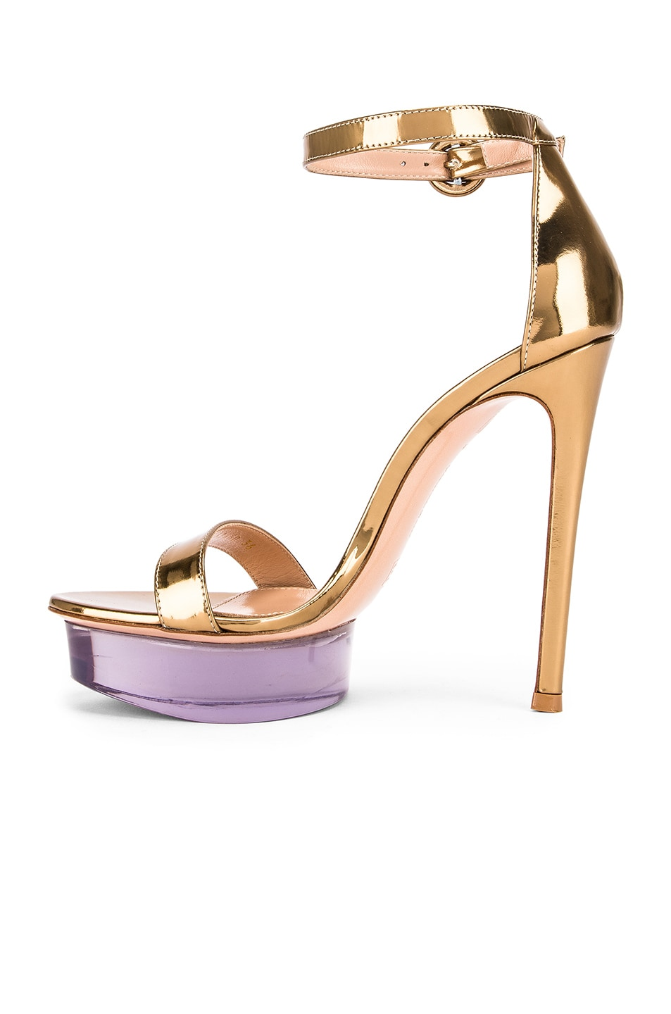Image 5 of Gianvito Rossi Ankle Strap Platform Heels in Gold