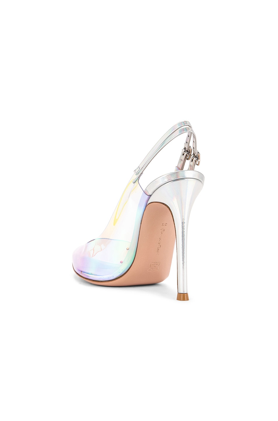 Image 3 of Gianvito Rossi Plexi & Laser Double Strap Heels in Hologram & Silver