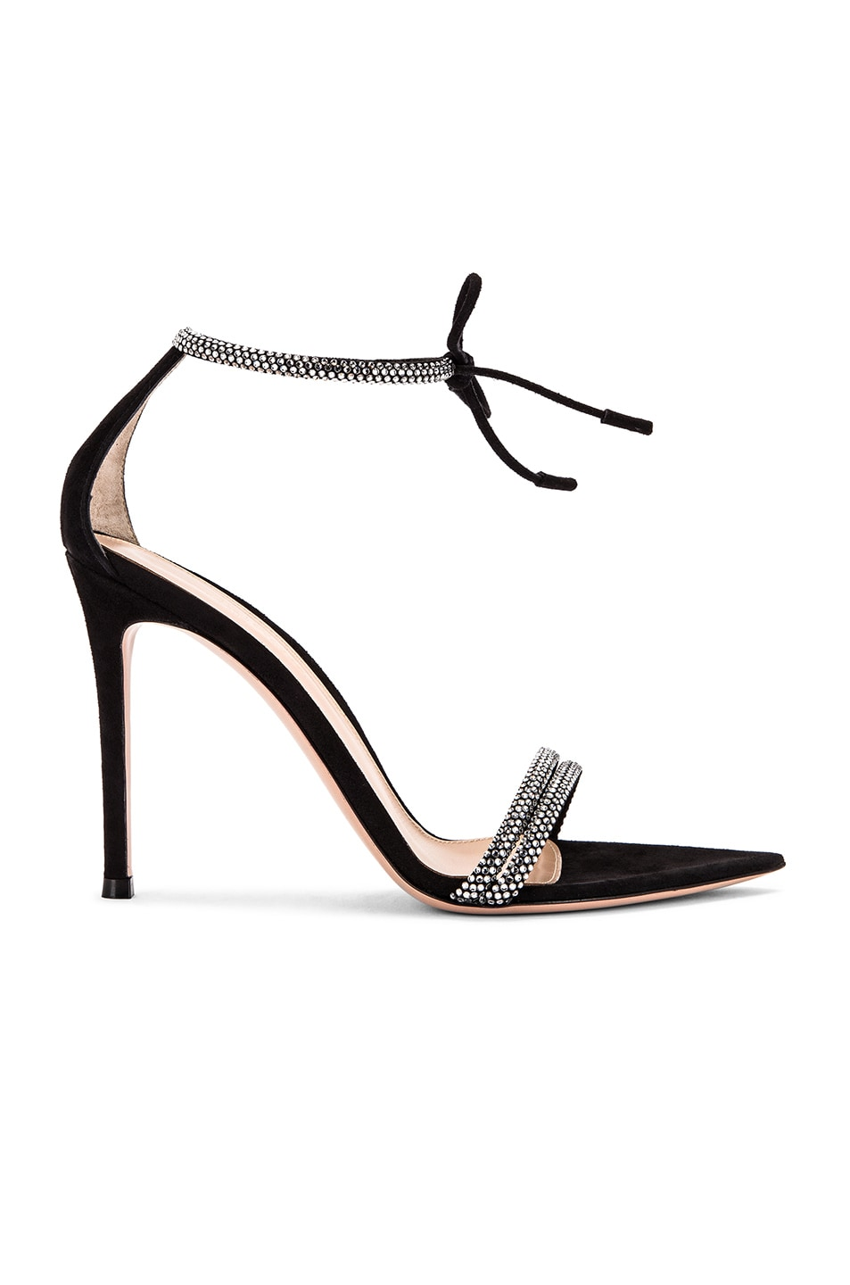 Image 1 of Gianvito Rossi Camoscio Crystal Ankle Strap Heels in Black
