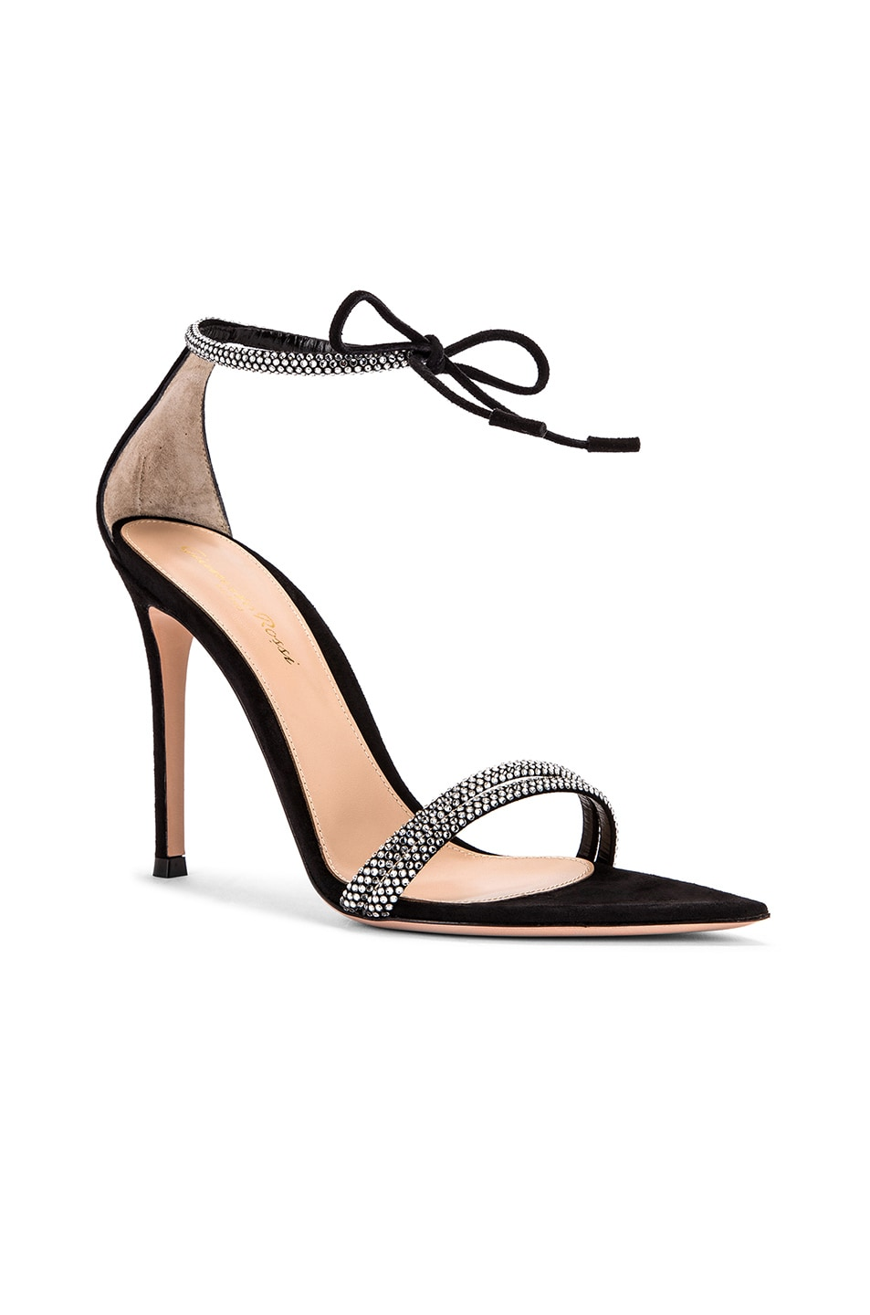 Image 2 of Gianvito Rossi Camoscio Crystal Ankle Strap Heels in Black