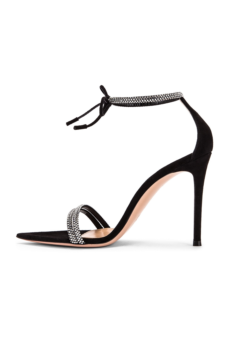 Image 5 of Gianvito Rossi Camoscio Crystal Ankle Strap Heels in Black