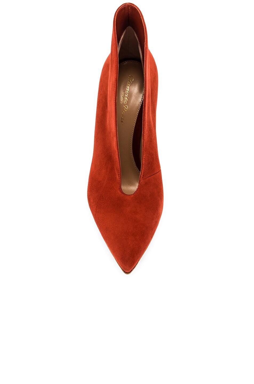 Image 4 of Gianvito Rossi Suede Open Heels in Crimson
