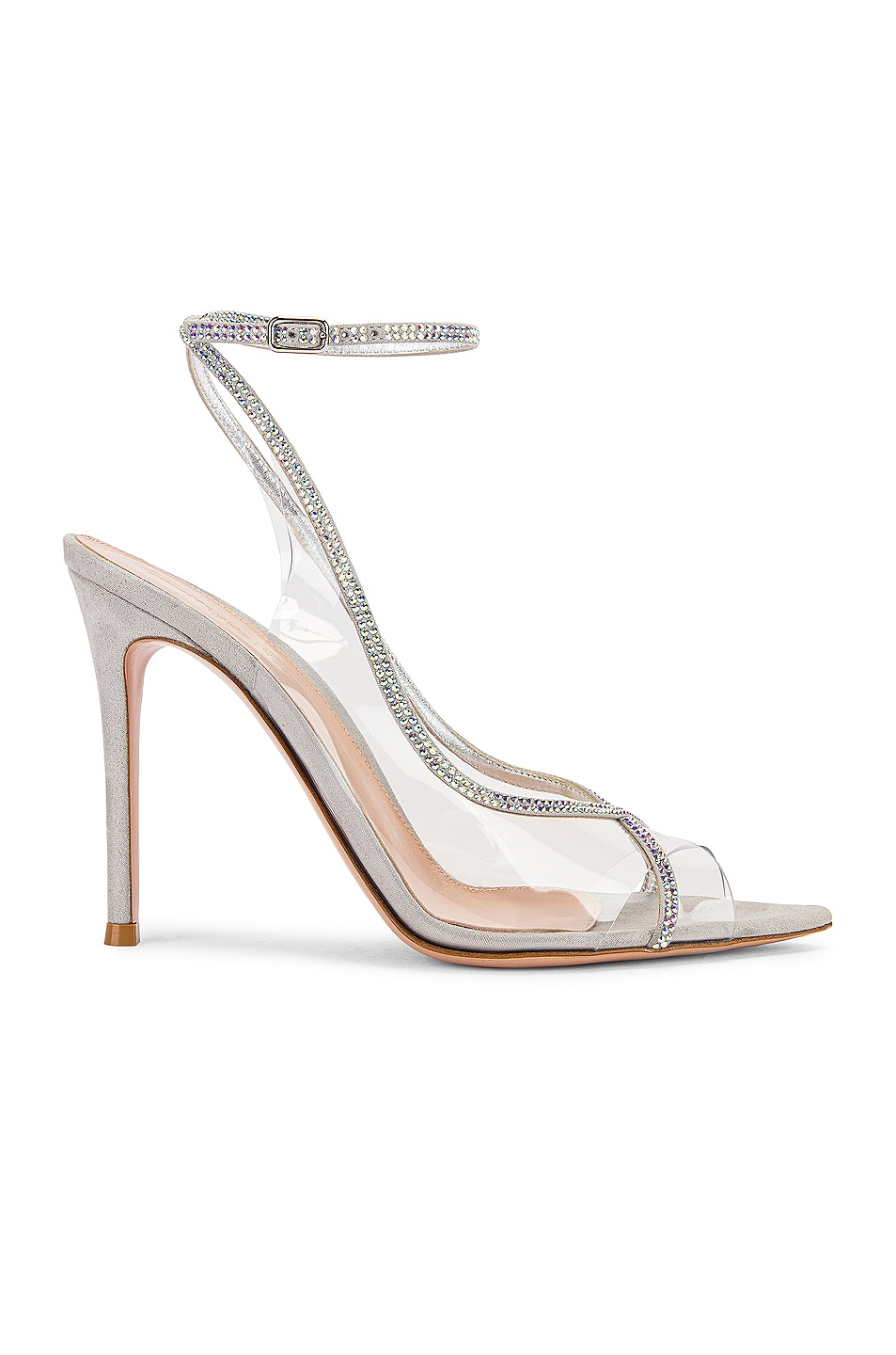 Image 1 of Gianvito Rossi Ankle Strap Heels in Transparent & Silver