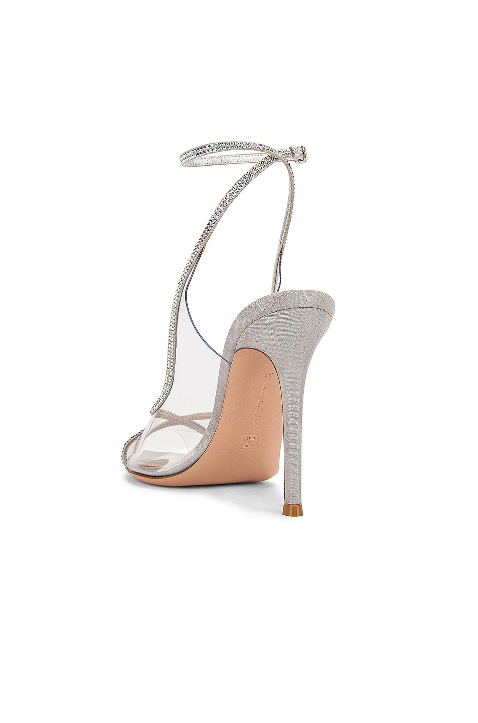 Image 3 of Gianvito Rossi Ankle Strap Heels in Transparent & Silver