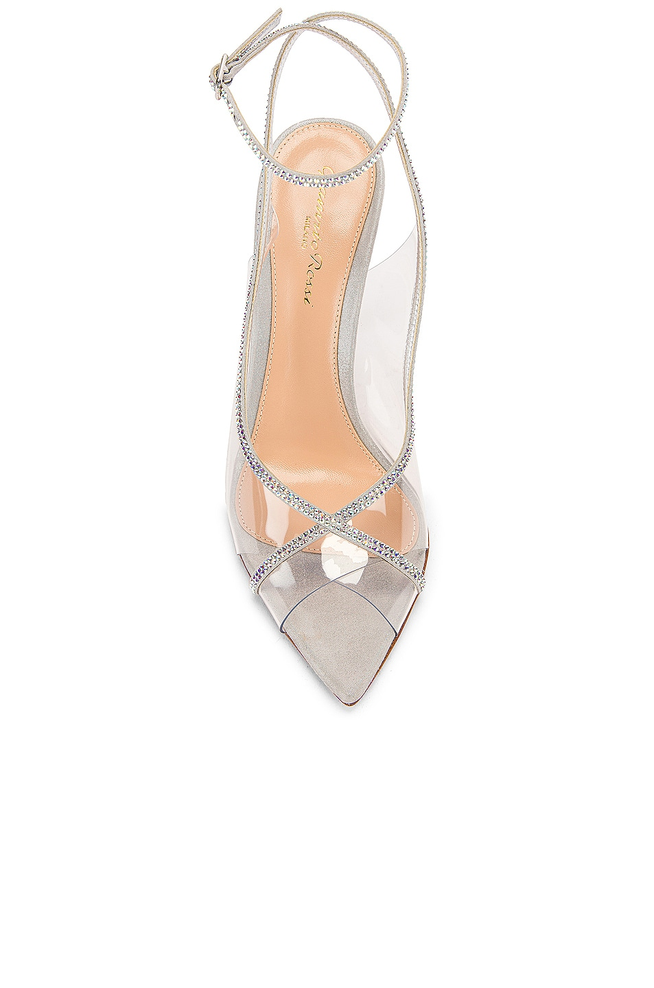 Image 4 of Gianvito Rossi Ankle Strap Heels in Transparent & Silver
