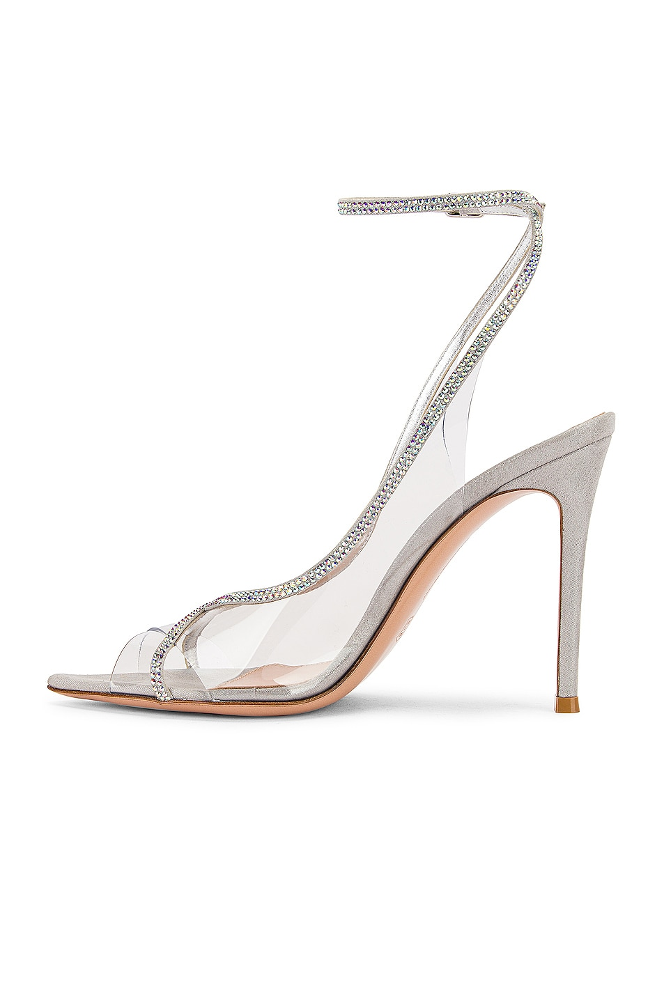 Image 5 of Gianvito Rossi Ankle Strap Heels in Transparent & Silver