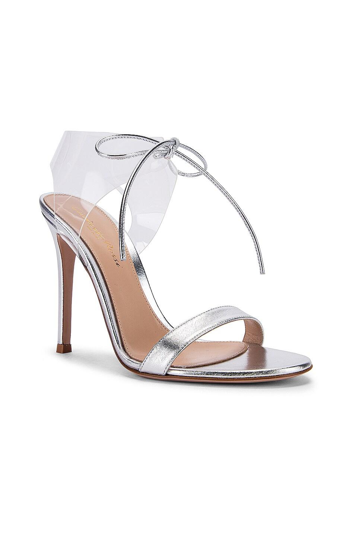 Image 2 of Gianvito Rossi Plexi Tie Heels in Silver & Transparent