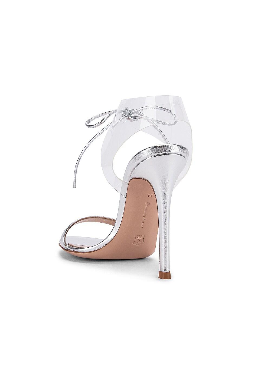 Image 3 of Gianvito Rossi Plexi Tie Heels in Silver & Transparent