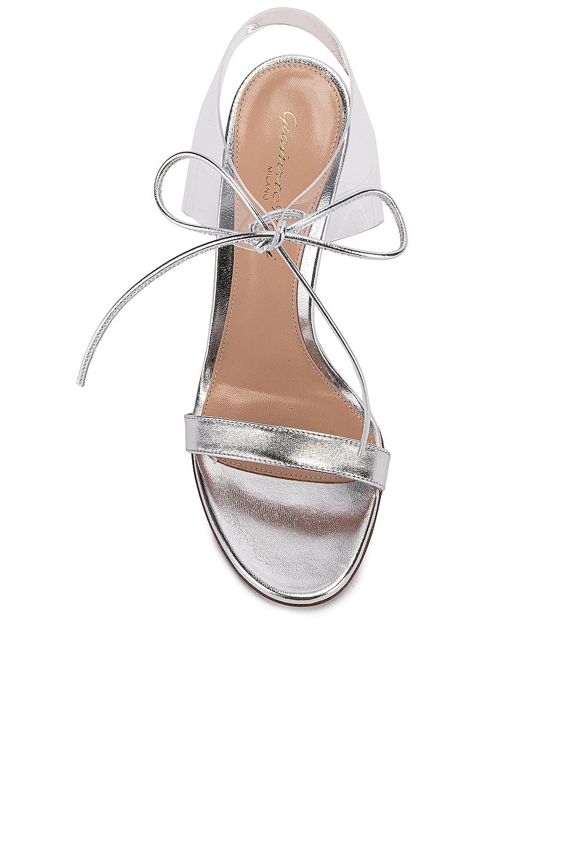Image 4 of Gianvito Rossi Plexi Tie Heels in Silver & Transparent