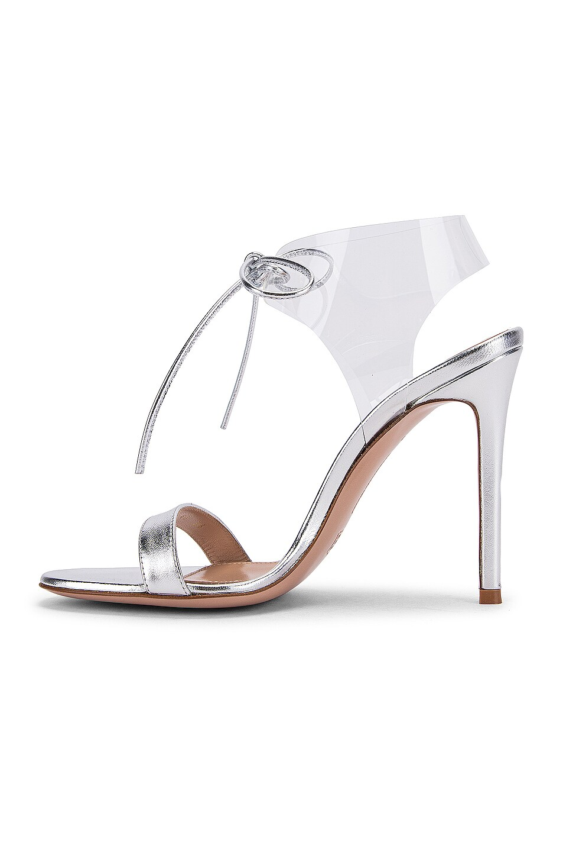 Image 5 of Gianvito Rossi Plexi Tie Heels in Silver & Transparent