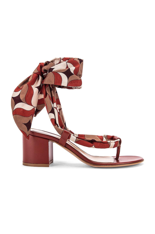 Image 1 of Gianvito Rossi Scarf Tie Sandals in Crimson & Crimson