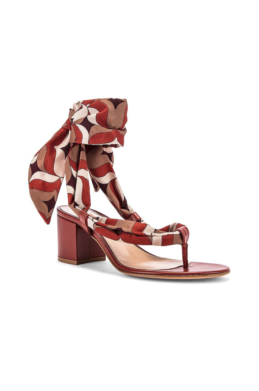 Image 2 of Gianvito Rossi Scarf Tie Sandals in Crimson & Crimson