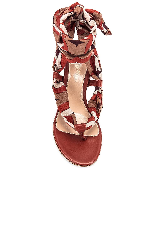 Image 4 of Gianvito Rossi Scarf Tie Sandals in Crimson & Crimson