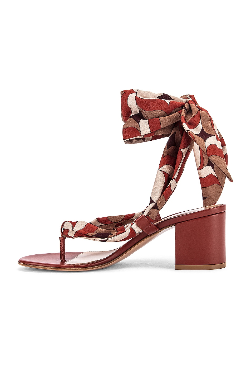 Image 5 of Gianvito Rossi Scarf Tie Sandals in Crimson & Crimson