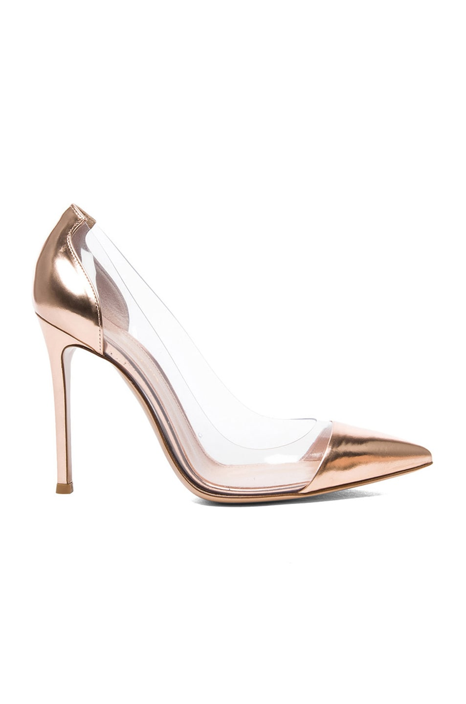 Image 1 of Gianvito Rossi Leather & Plexy Pumps in Rose Gold