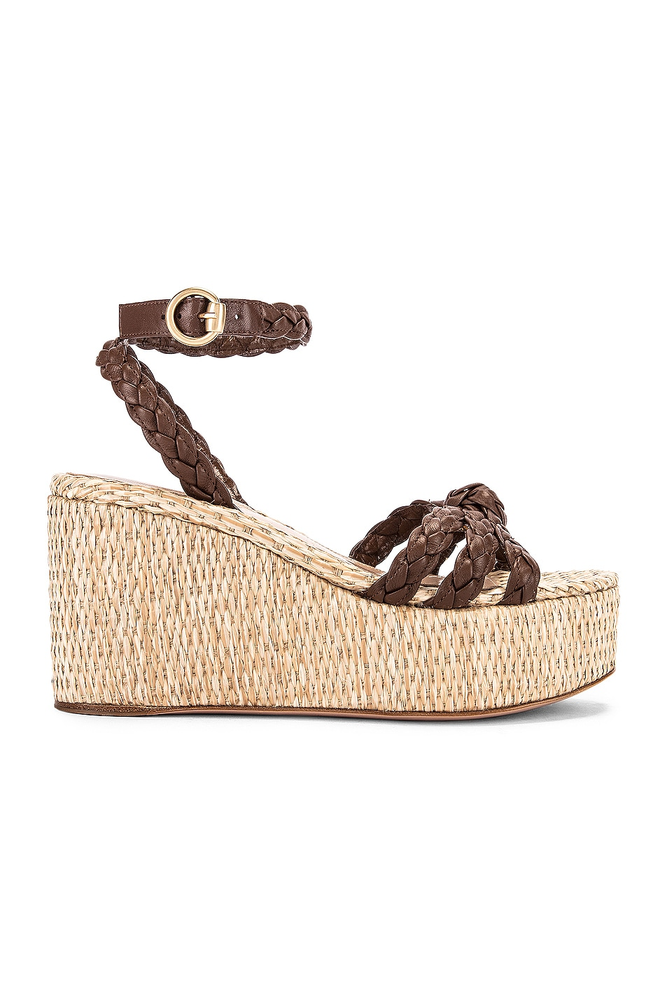 Image 1 of Gianvito Rossi Ankle Strap Platform Espadrille in Texas & Natural