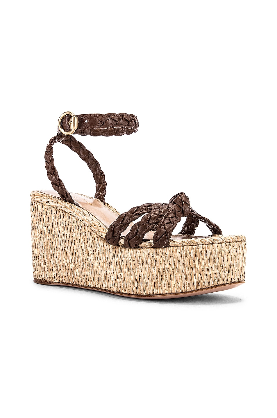 Image 2 of Gianvito Rossi Ankle Strap Platform Espadrille in Texas & Natural