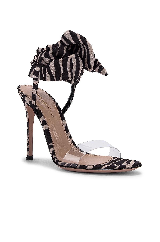Image 2 of Gianvito Rossi Scarf Tie Heels in Transparent & Zebra