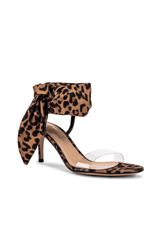 Image 2 of Gianvito Rossi Scarf Tie Sandals in Transparent & Leopard