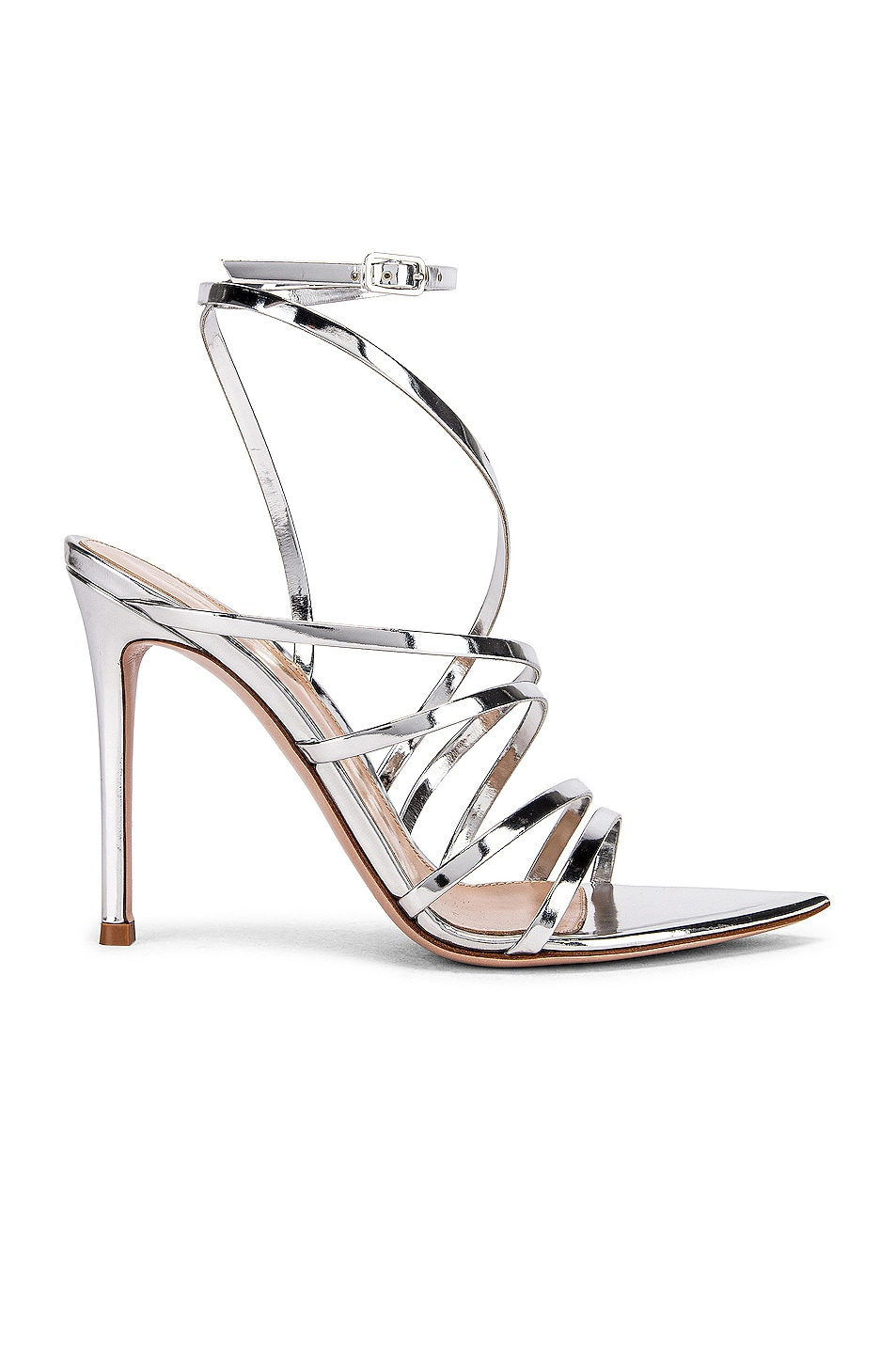 Image 1 of Gianvito Rossi Strappy Heels in Silver