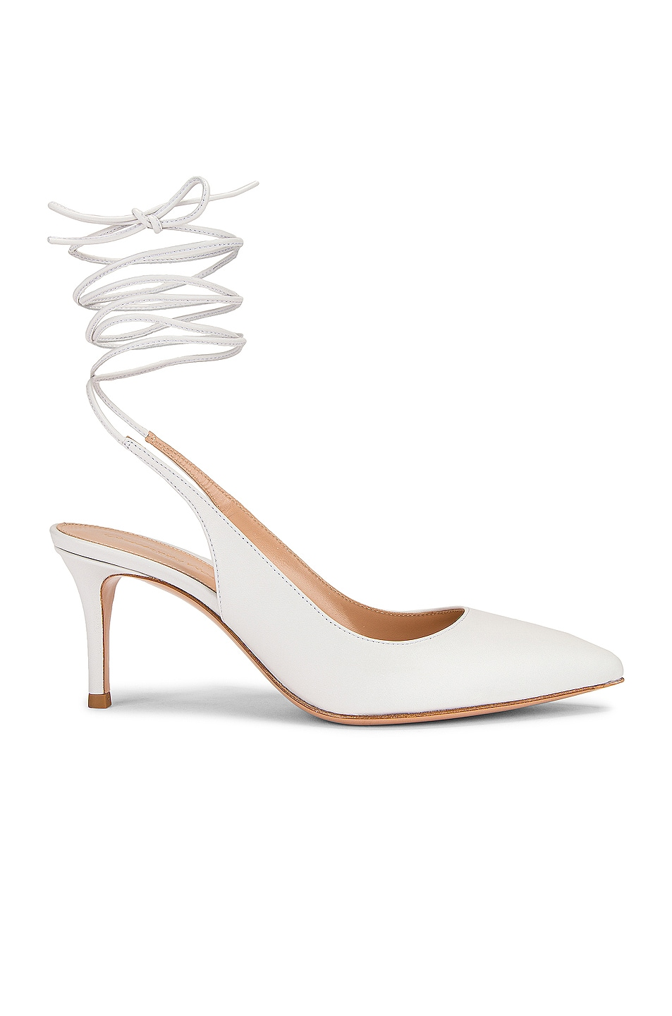 Image 1 of Gianvito Rossi Strappy Kitten Heel Pumps in White