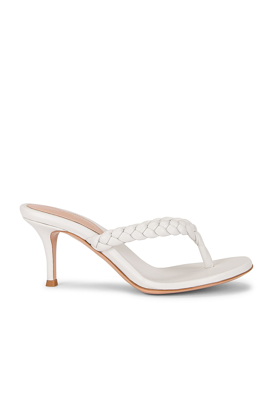 Image 1 of Gianvito Rossi Braid Thong Sandals in White