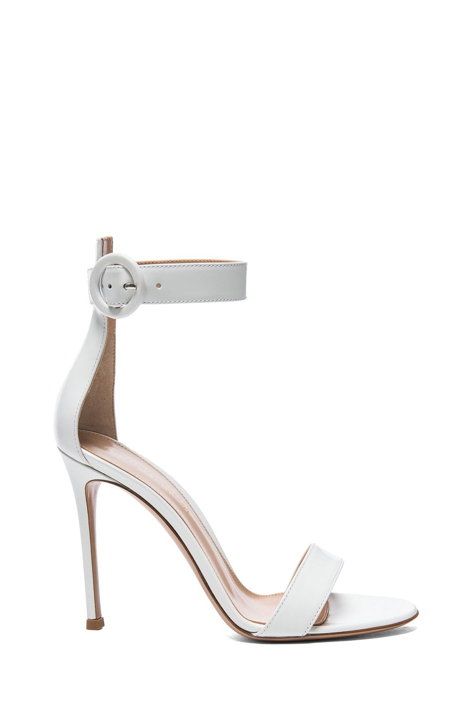 Image 1 of Gianvito Rossi Leather Ankle Strap Sandals in White