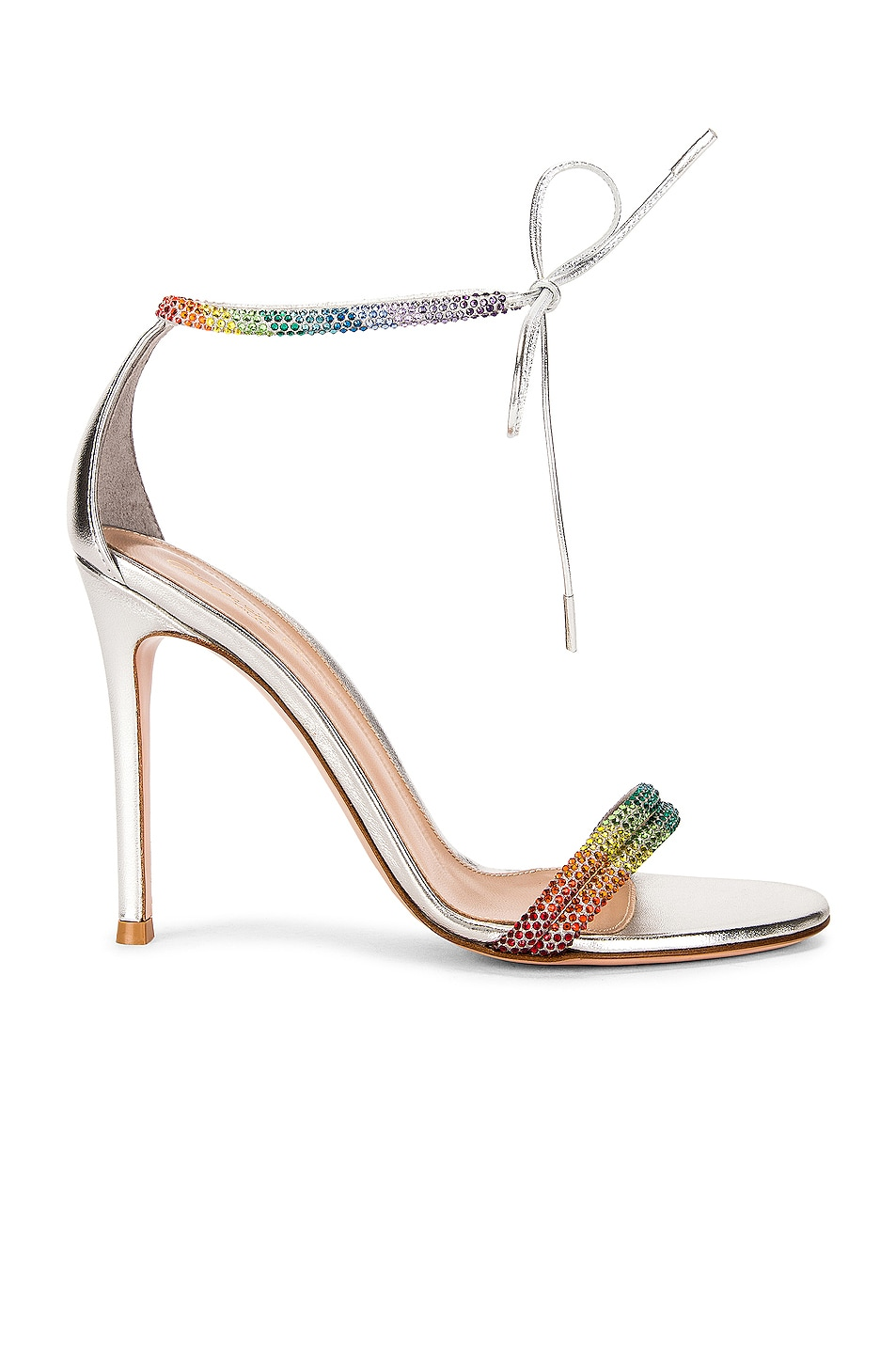Image 1 of Gianvito Rossi Ankle Strap Pumps in Silver & Rainbow
