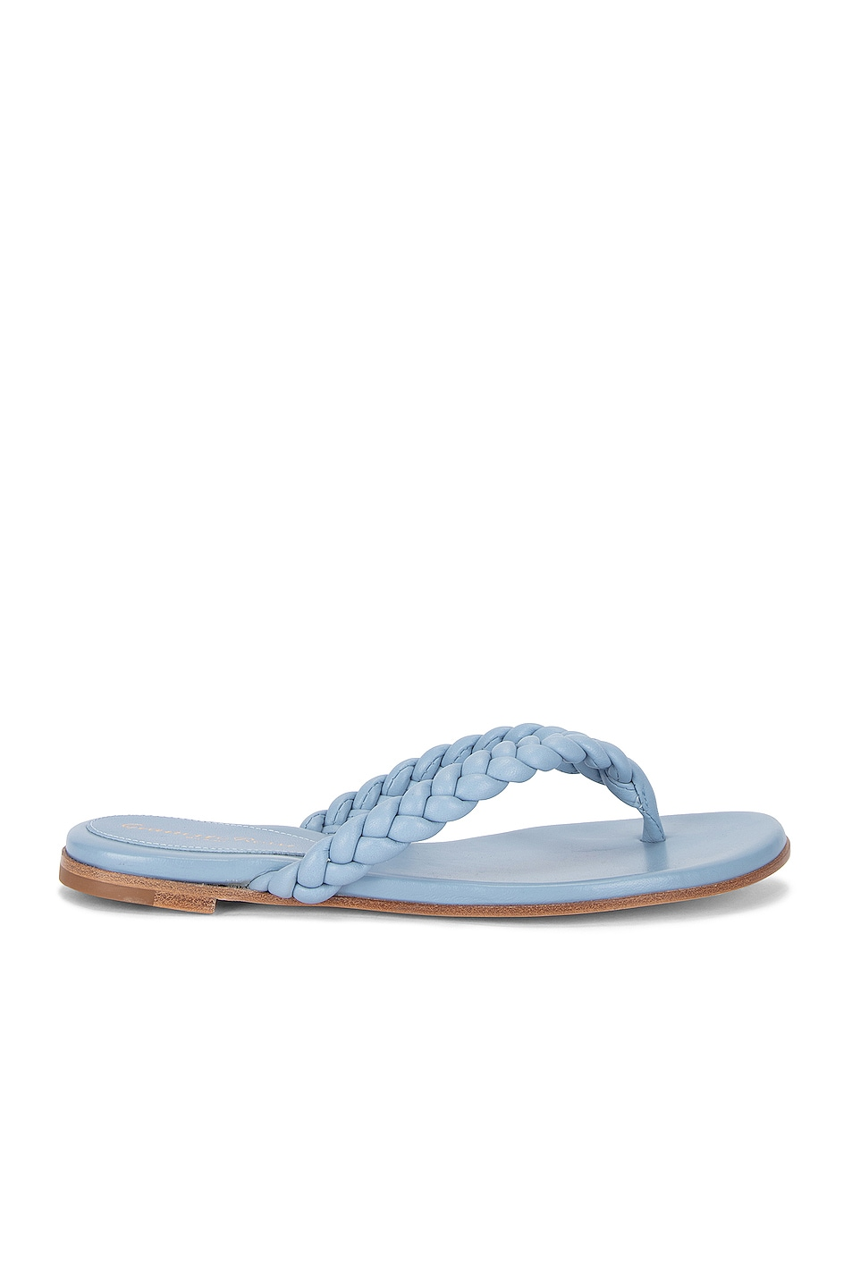 Image 1 of Gianvito Rossi Tropea Leather Flat Sandals in Stonewash