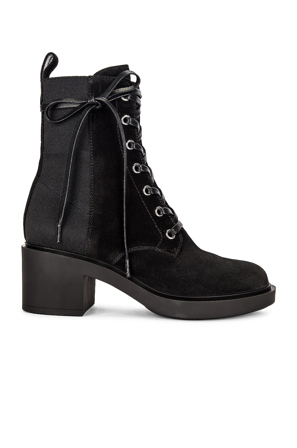 Image 1 of Gianvito Rossi Suede Lace Up Booties in Black & Black