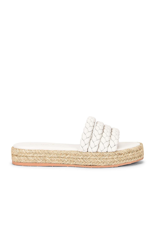 Image 1 of Gianvito Rossi Marbella Braided Sandals in White & Naturale
