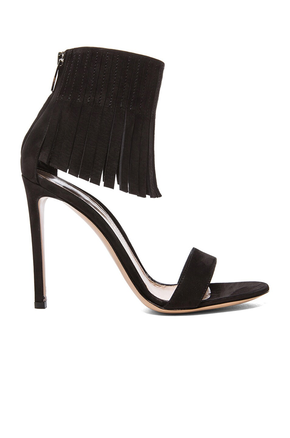 Image 1 of Gianvito Rossi Suede Fringe Ankle Heels in Black