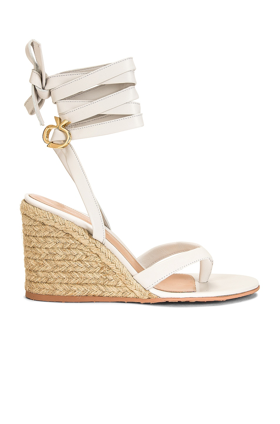 Image 1 of Gianvito Rossi Strappy Espadrille Wedges in White & Naturale