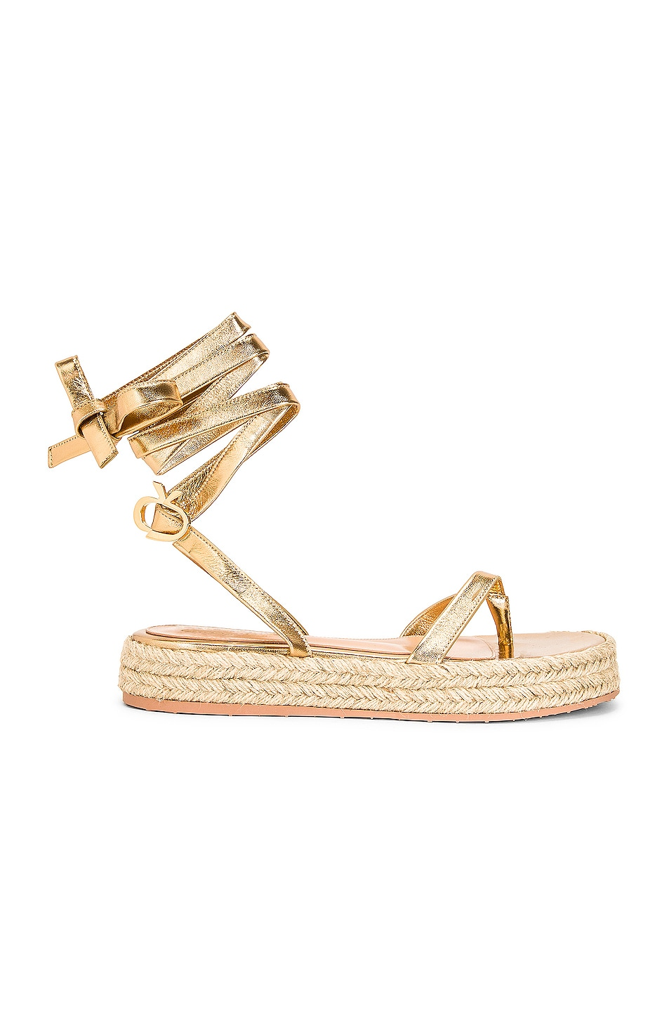 Image 1 of Gianvito Rossi Gladiator Espadrille Flat Sandals in Mekong & Naturale