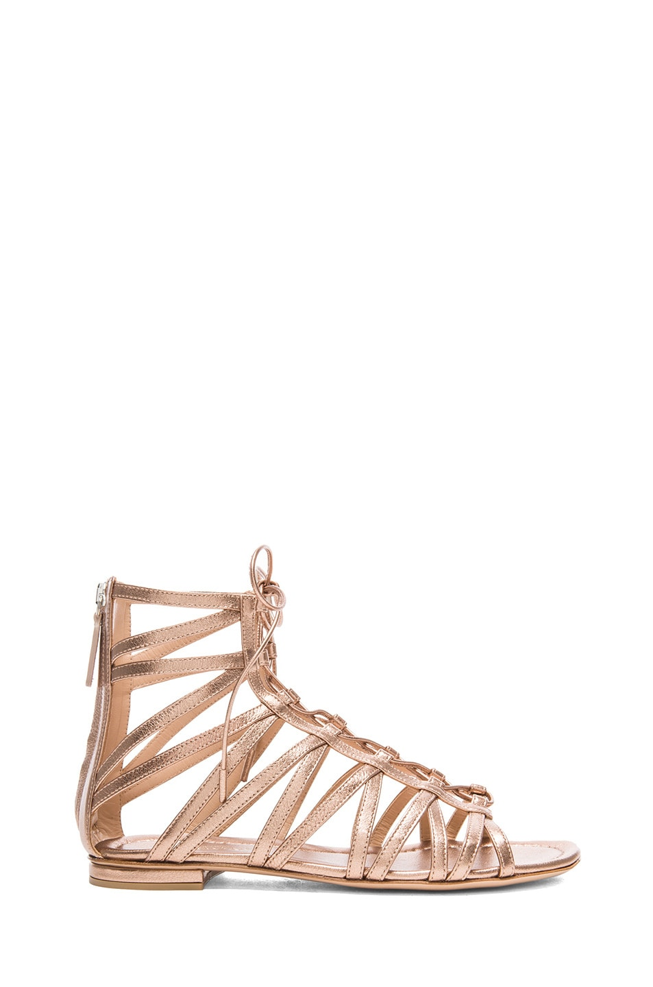 Image 1 of Gianvito Rossi Gladiator Metallic Leather Sandals in Rose Gold