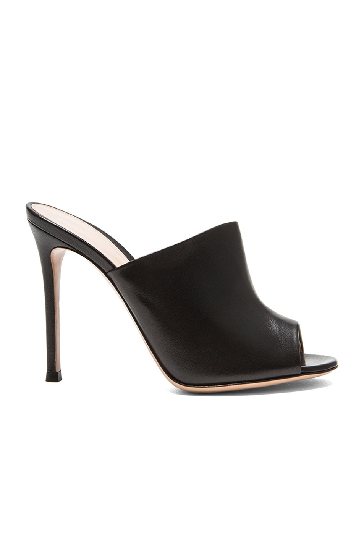 Image 1 of Gianvito Rossi Leather Mule Heels in Black