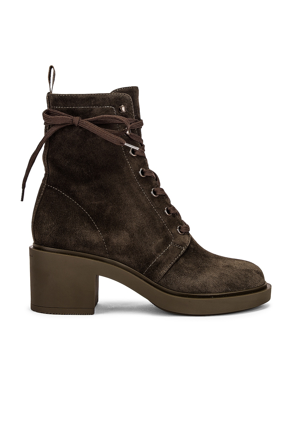 Image 1 of Gianvito Rossi Suede Lace Up Boots in Dark Olive